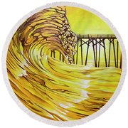 Carolina Beach North End Pier Round Beach Towel