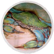 Carolina Blue Crab Round Beach Towel