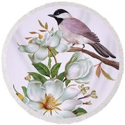 Carolina Chickadee And Magnolia Flower Round Beach Towel