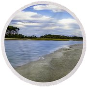 Carolina Inlet At Low Tide Round Beach Towel