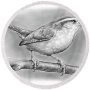 Carolina Wren Round Beach Towel
