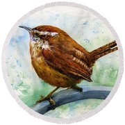 Carolina Wren Large Round Beach Towel