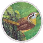 Carolina Wren Springtime Round Beach Towel