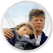 Caroline Kennedy And President Kennedy Round Beach Towel