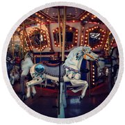 Round Beach Towel featuring the photograph Carousel by David Mckinney
