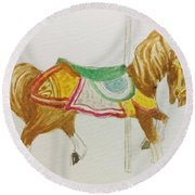 Carousel Horse Round Beach Towel by Stacy C Bottoms