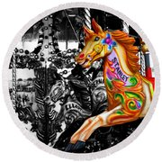 Carousel In Isolation Round Beach Towel