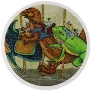 Carousel Kids 3 Round Beach Towel