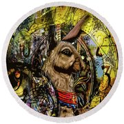 Round Beach Towel featuring the photograph Carousel Rabbit by Michael Arend