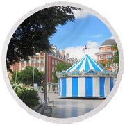 Carousel Round Beach Towel by Therese Alcorn