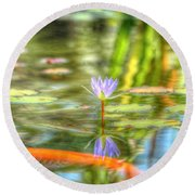Carp And Lily Round Beach Towel