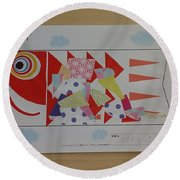 Carp Streamer Round Beach Towel