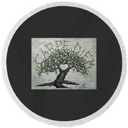 Round Beach Towel featuring the drawing Carpe Diem Love Tree by Aaron Bombalicki