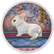 Carpe Diem Rabbit Round Beach Towel