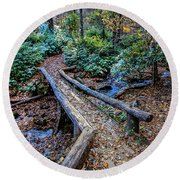Carpet Of Leaves Round Beach Towel by Dale R Carlson