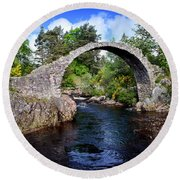 Carr Bridge Scotland Round Beach Towel