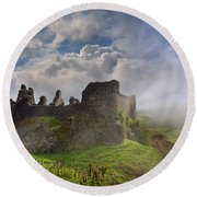 Carreg Cennen Castle 2 Round Beach Towel