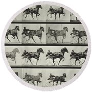 Carriage Driving Round Beach Towel