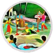 Round Beach Towel featuring the painting Carribean Scenes - Calypso And Limbo by Wayne Pascall