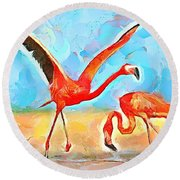 Round Beach Towel featuring the painting Caribbean Scenes - Trinidad's Scarlet Ibis/flamingo by Wayne Pascall
