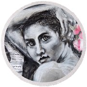 Round Beach Towel featuring the drawing Carried Away by Mary Schiros