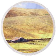 Carrizo Barn Round Beach Towel