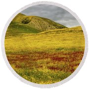 Round Beach Towel featuring the photograph Carrizo  Plain Super Bloom 2017 by Peter Tellone
