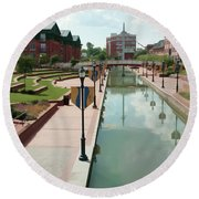 Carroll Creek Park In Frederick Maryland With Watercolor Effect Round Beach Towel