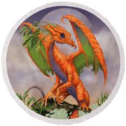Carrot Dragon Round Beach Towel by Stanley Morrison