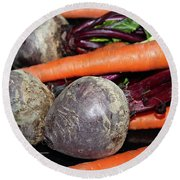 Round Beach Towel featuring the photograph Carrots And Beets by Ann E Robson
