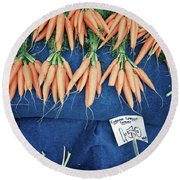 Carrots At The Market Round Beach Towel by Tom Gowanlock