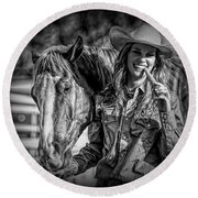 Carrots Cowgirls And Horses  Black Round Beach Towel