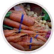 Carrots Vignette At Davis Farmers' Market Round Beach Towel