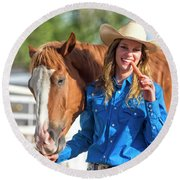 Carrots,cowgirls And Horses  Round Beach Towel
