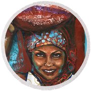 Round Beach Towel featuring the painting Carrying Basket by Alga Washington