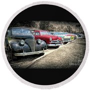 Cars For Sale Round Beach Towel by Marion Johnson