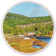 Round Beach Towel featuring the photograph Carson Runoff by Nancy Marie Ricketts