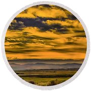 Carson Valley Sunrise Round Beach Towel by Nancy Marie Ricketts
