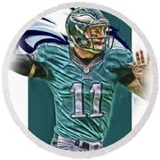 Carson Wentz Philadelphia Eagles Oil Art Round Beach Towel