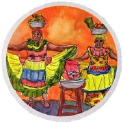 Cartagena Fruit Venders Round Beach Towel