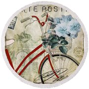 Carte Postale Vintage Bicycle Round Beach Towel by Mindy Sommers