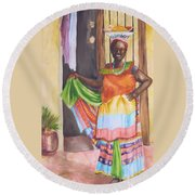 Cartegena Woman Round Beach Towel