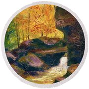 Round Beach Towel featuring the painting Carter Caves Kentucky by Gail Kirtz