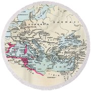 Carthaginian Colonies And Area Of Round Beach Towel