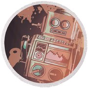 Cartoon Cyborg Robot Round Beach Towel