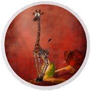 Cartoon Giraffe Round Beach Towel