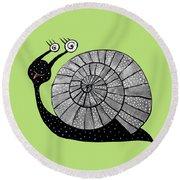 Cartoon Snail With Spiral Eyes Round Beach Towel