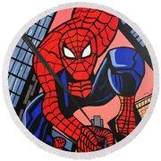 Cartoon Spiderman Round Beach Towel