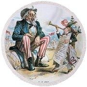 Cartoon: Uncle Sam, 1893 Round Beach Towel