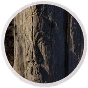 Carved Fence Post Round Beach Towel